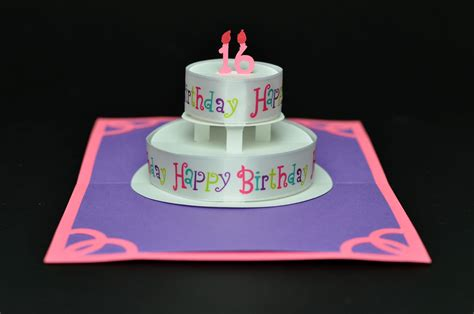 Birthday Cake Pop Up Card With Quot Happy Birthday