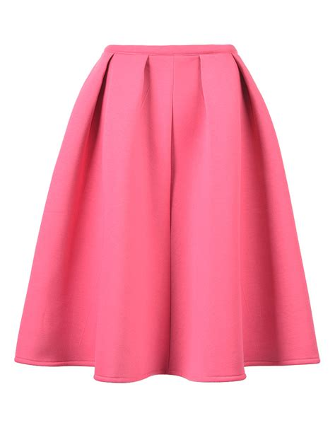 pink pleated midi skater skirt choies