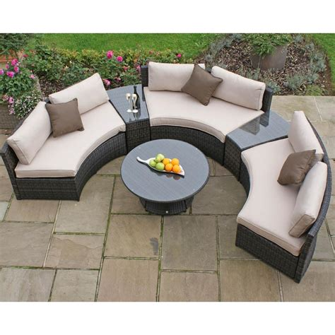 patio settee maze rattan half moon curved garden sofa set internet