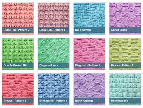 knitting pattern names list of free stitch patterns using only knit and purl