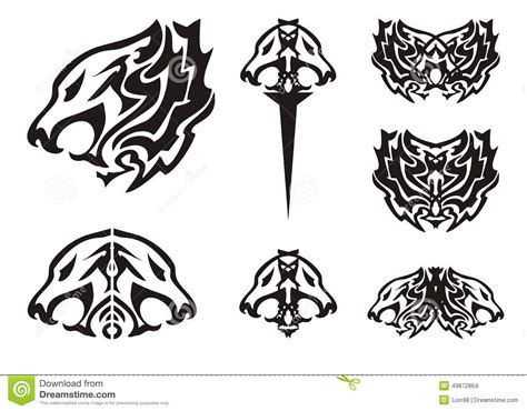 tribal lion head symbols tattoos stock vector image