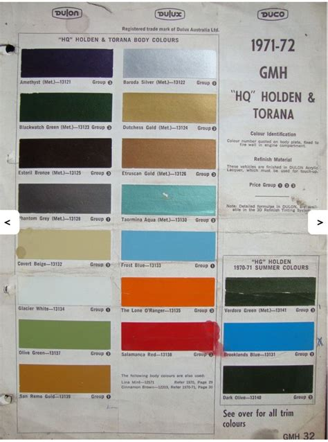 pin by sam princi on holden hq colours paint charts