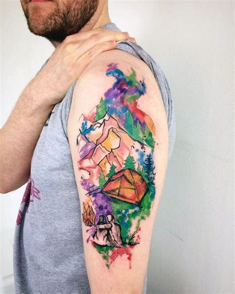 watercolor tattoos nature 50 tent designs for great outdoors ink ideas