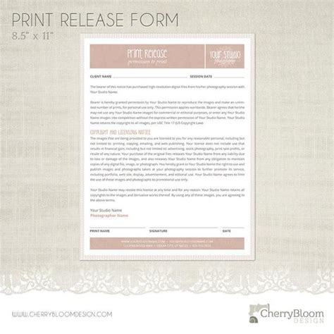 Print Release Form Template For Photographers Photographer Photography Print Release Form Template