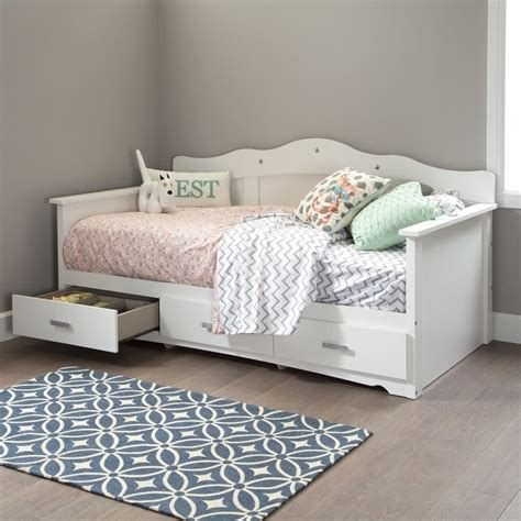 storage day bed south shore sabrina wood twin storage daybed in white 10003