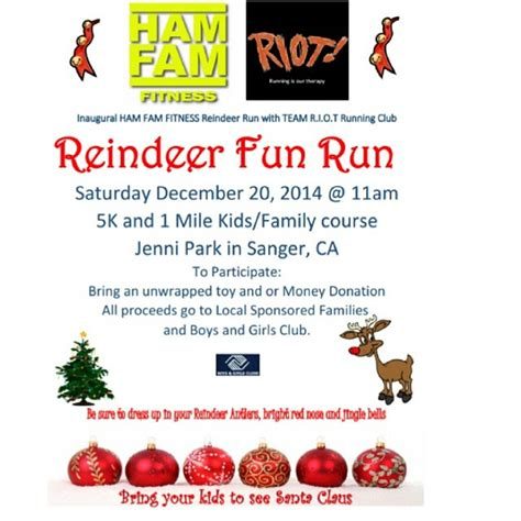 Free Toy Giveaways For Christmas 2014 - ham fam fitness quot reindeer run run quot the sanger scene