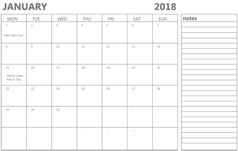 printable calendar january 2018 uk january 2018 calendar with notes calendar template