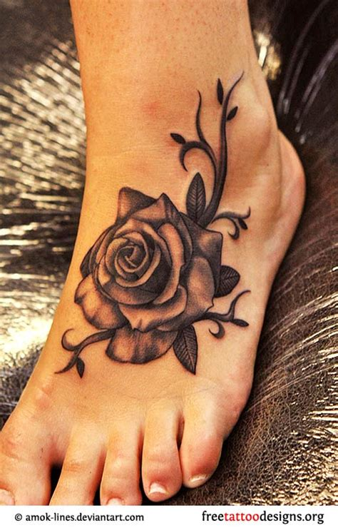 dark rose tattoo designs foot design busbones