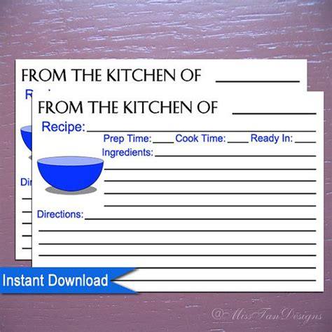 printable recipe cards 4 x 6 printable 4 x 6 recipe cards blue bowl kitchen instant