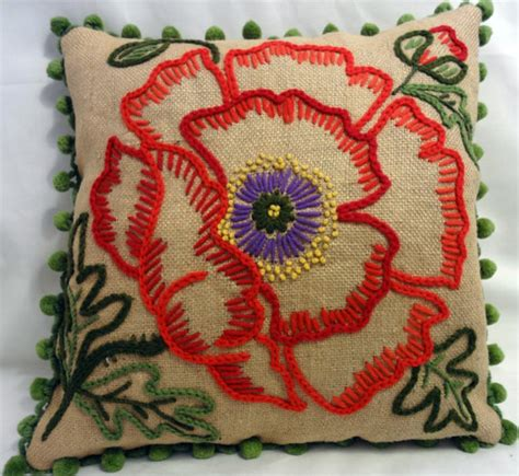 Embroidered Pillows by Decorator Burlap Embroidered Pillow With Pompom By Abby S