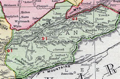 kentucky map harlan county harlan county kentucky 1911 rand mcnally map cawood