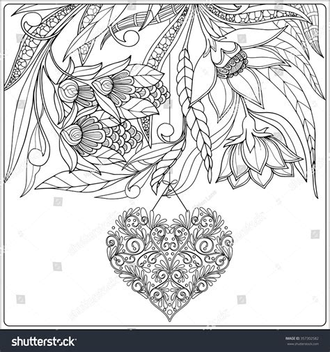 Happy Valentine Day Card With Decorative Love Heart And Valentines Day Coloring Pages For Adults