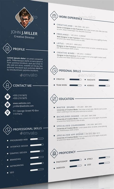 Cv Template Free Psd 25 Psd Resume Templates That Will Make Recruiters Quot Want Quot To Hire You Web Graphic Design