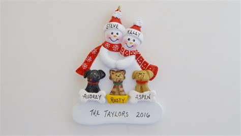 personalized snowman couple christmas ornament with 3 custom