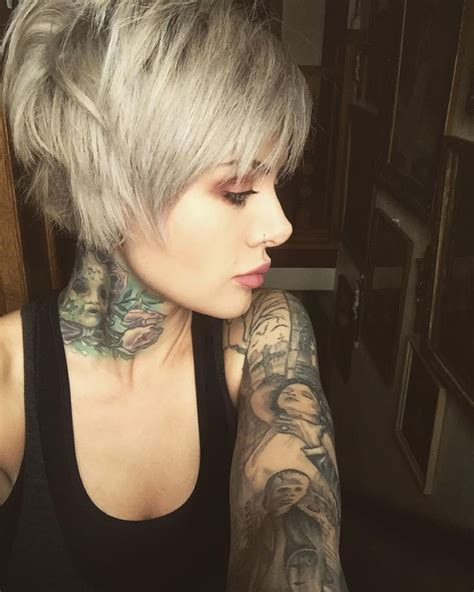 hairstyles from instagram silver pixie cut short bob haircut edgy short hair