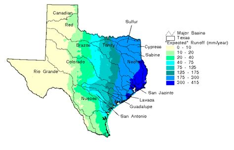 texas average rainfall map spatial water balance of texas