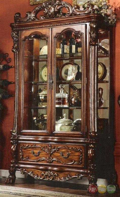 dresden traditional ornate curio cabinet  antique cherry oak