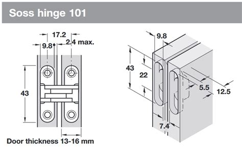 Soss Hinge 101 For 13 16 Mm Door Thickness Soss Hinge Installation Template