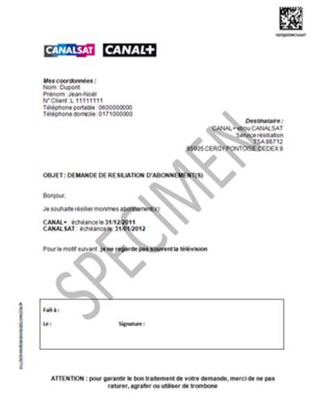 Resiliation Lettre Type Canalsat Resiliation Canal Avec Participation
