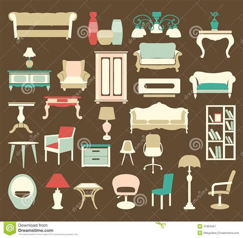 retro icons 20 free sets for vintage themed designs retro style furniture icons silhouettes stock vector