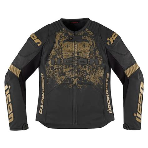 black and gold motorcycle jacket icon overlord prime women s jacket revzilla