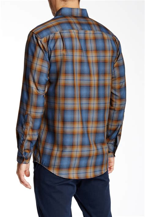 pendleton sleeve fitted sir pen wool shirt in blue