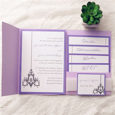 Wedding Pocket Invitations purple chandelier pocket wedding invitation kits