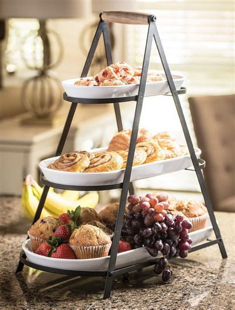 new 3 tier buffet server 3 stoneware serving platter trays