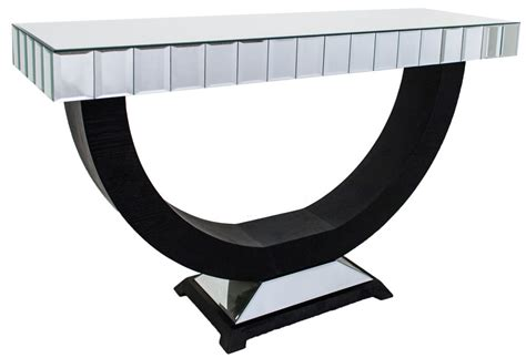 black mirrored console table buy rv astley black and bevelled plain mirrored console