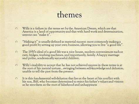 theme statement of death of a salesman revision notes key themes and characterisation ppt