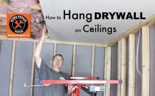 How To Put Sheetrock On Ceiling by How To Hang Drywall Ceilings By Home Repair Tutor
