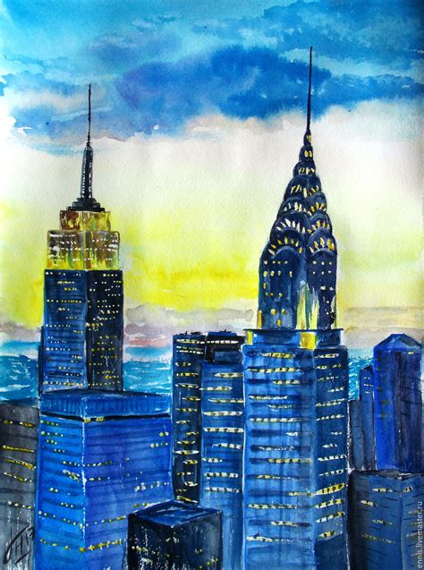 Handmade In New York - painting watercolor quot a in new york quot shop on