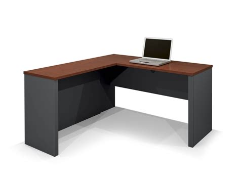 Elegant L Shape Brown Tetured Wood Small Corner Computer Best Home Office Furniture