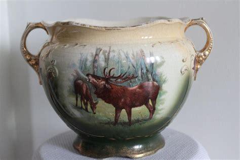 Jardiniere Vase by Antique Burgundy Elk Deer Porcelain