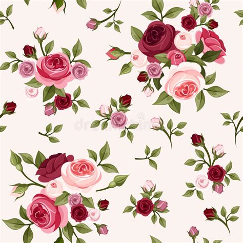 pink rose pattern clipart seamless pattern with red and pink roses vector