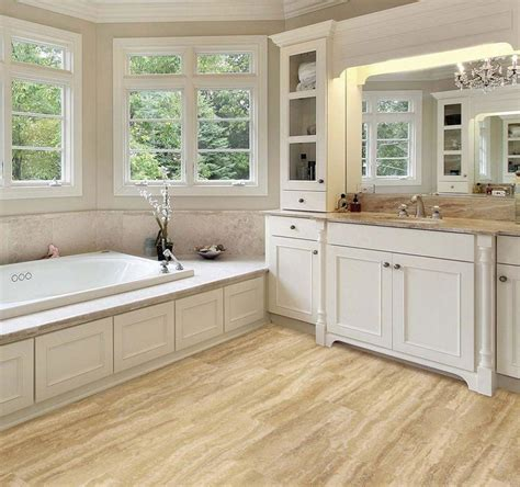 allure bathrooms mocca wooden allure vinyl plank flooring matched with white wall plus white bathroom