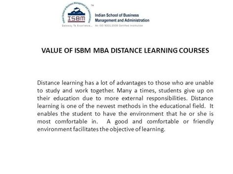 Does Correspondence Mba Has Value by Value Of Isbm Mba Distance Learning Courses Authorstream