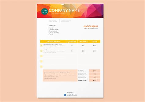 free indesign template free new indesign invoice templates invoiceberry