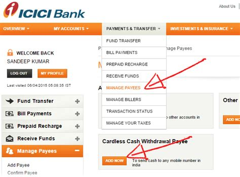 transfer icici bank receive and withdraw funds from atm without a bank