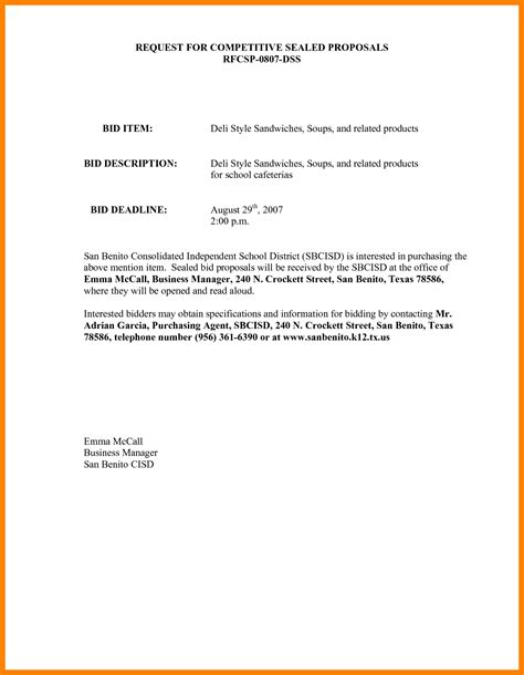 Decline Letter Bidding rejection letter template