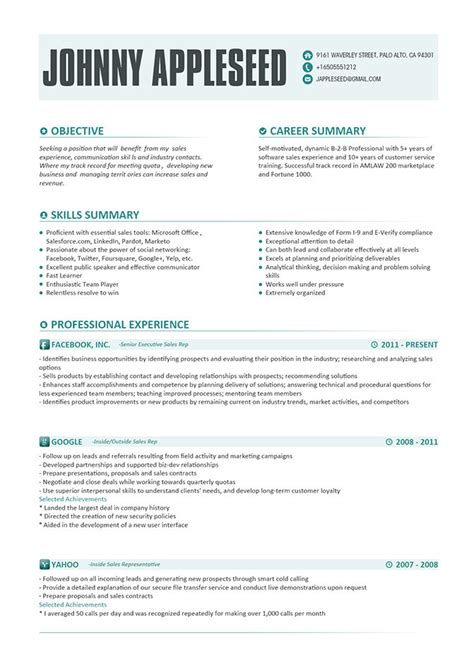 Sle Of Modern Resume resume template johnny appleseed modern resume template with microsoft office skills for sales