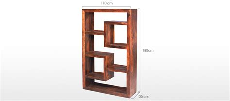 cube sheesham geometric bookcase quercus living