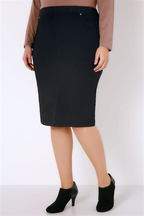 black denim pull on pencil skirt plus size 16 to 28