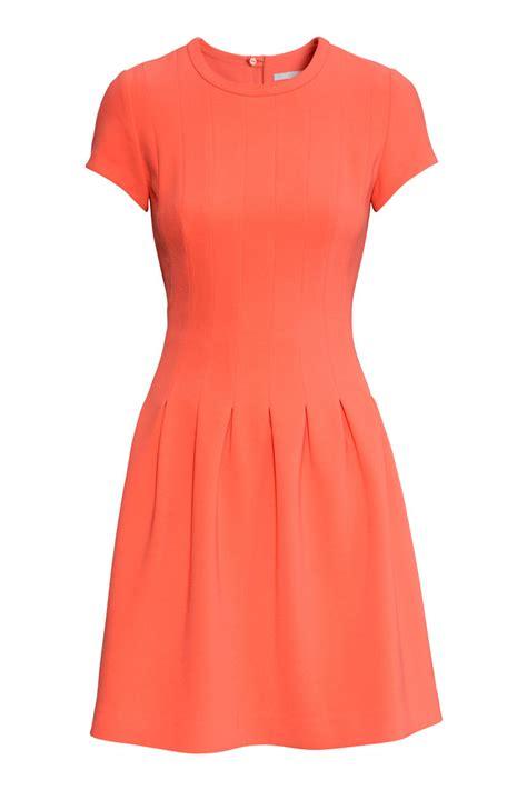 Orange Chain Dress M L 18289 1 pleated dress orange sale h m us