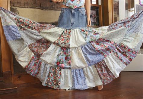 Patchwork Skirt - upcycled denim skirt hippie patchwork skirt bohemian