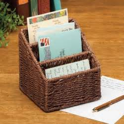 Small Desk Baskets Small Wicker Woven Basket Mail Letter In Out Box Holder