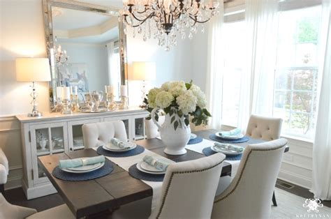 Dining Room Update Vertical Vs Horizontal Buffet Mirror Light Blue Dining Room