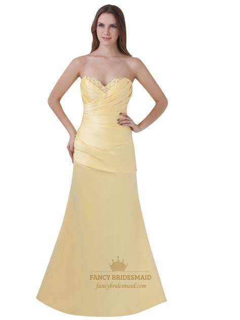 sweetheart beaded prom dress yellow beaded sweetheart neckline strapless sheath prom