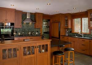 arts and crafts style kitchen cabinets craftsman style kitchens craftsman style pinterest cherry kitchen green tiles and cherries