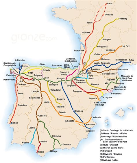 camino routes map of routes pilgrims in sydney